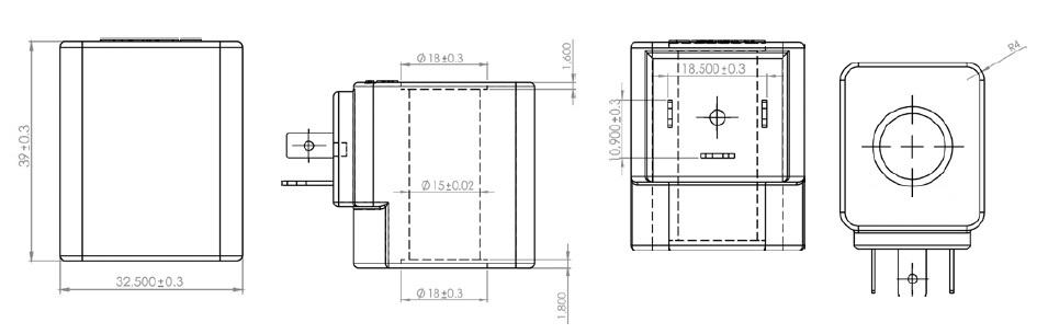 Размеры катушек для соленоидных клапанов